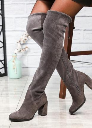 Рр 36-40 италия элитная коллекция натуральный замш шикарные сапоги с интересным каблуком