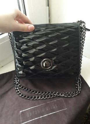 Срочно фирменная сумка сумочка биаджи antonio biaggi лаковая натуральная кожа