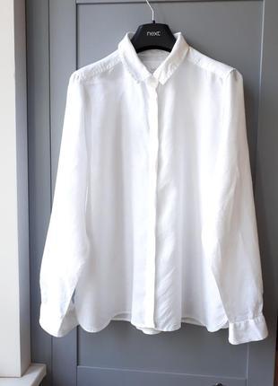 Белая льняная рубашка оверсайз marks & spencer