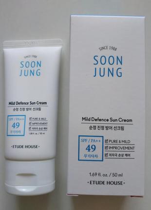 Солнцезащитный крем etude house soon jung mild defence sun cream spf49 pa++