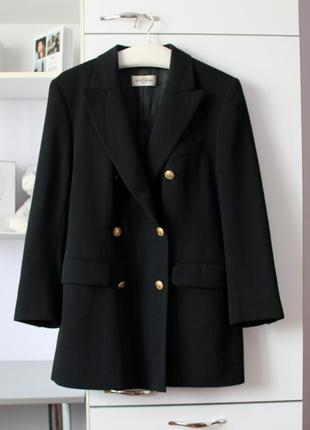 Стильный винтажный двубортный пиджак с шерстью в составе от dinomada