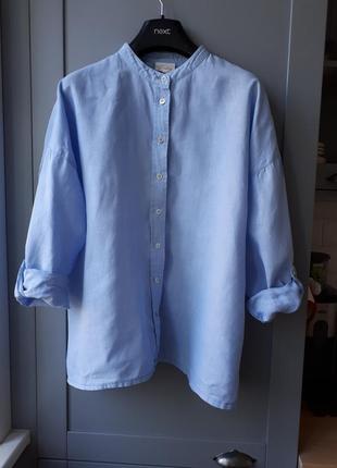 Голубая льняная рубашка оверсайз р.s