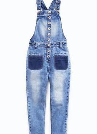 Крутой/джинсовый комбинезон/комбез бойфренд с эффектом варки с прорезными карманами next.