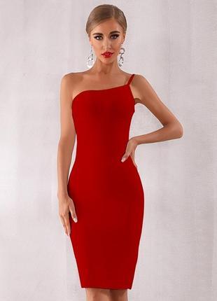 Шикарное сексуальное бандажнон платье миди красное ена одно плечо футляр утягивающее