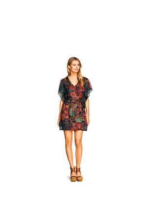 Пляжное платье туника пончо h&m в яркий принт
