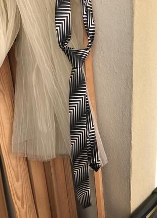 Галстук верно-белый ретро стиль винтажный атласный
