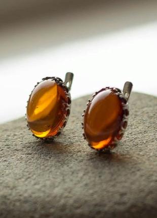 Шикарные серебряные серьги с янтарем