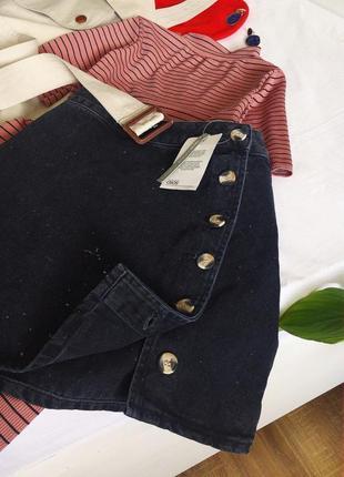 Актуальна джинсова спідничка з гудзиками під дерево від asos/нова