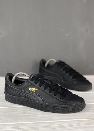 Кеды кроссовки puma basket original кожаные 40 чёрные