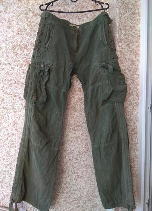 Вельветовые штаны на завязках р.48