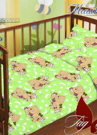 Комплект белья в кроватку,  для новорожденных. поплин, 100% хлопок.