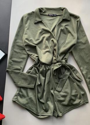 👗роскошный ромпер цвета хаки/зелёный комбез/комбинезон шортами с длинным рукавом👗