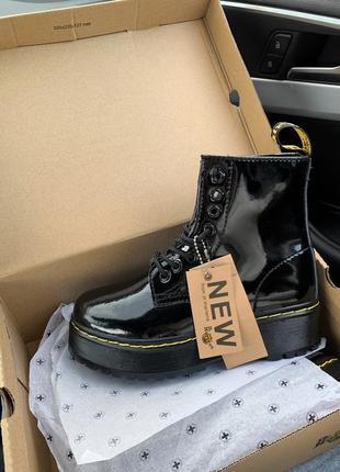 Шикарные зимние чёрные ботинки dr. martens fur patent platform black winter 😍 (с мехом)