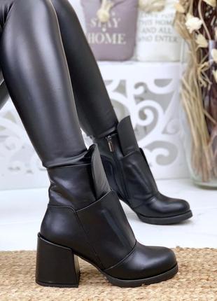 Натуральная кожа эклюзивные люксовые кожаные осенние ботинки на грубом каблуке