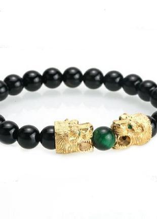 Шикарный браслет с камнями черный агат и тигровый глаз с золотым драконом унисекс