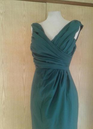 Катоновое платье цвета морской волны, xs - s.4 фото