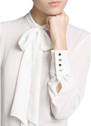Белая блуза-рубашка с бантом mango suit / m