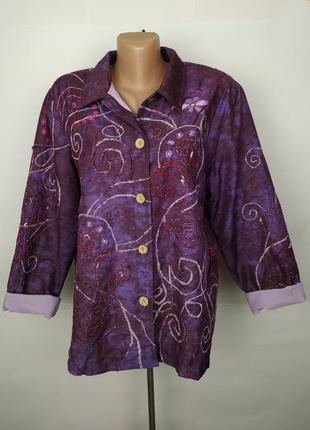 Пиджак жакет оригинальный вышивка uk 14/42/l