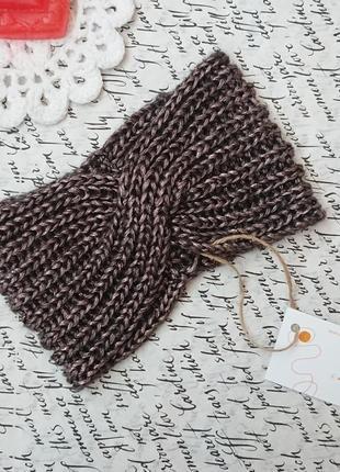 Вязаная повязка чалма на голову женская ручная работа