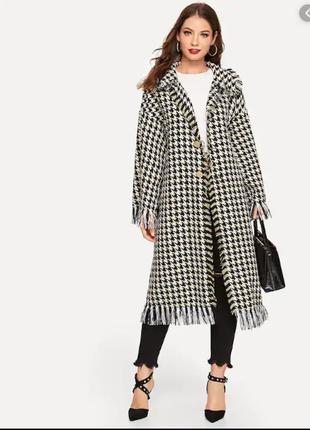 Брендовое демисезонное пальто в клетку for women шерсть коттон акрил