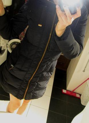 Пуховик куртка zara на пуху синего цвета