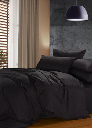 Черное однотонное постельное белье из сатина премиум-качества1 фото