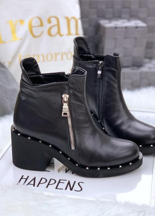 Натуральная кожа повседневные осенние кожаные ботинки на небольшом каблуке