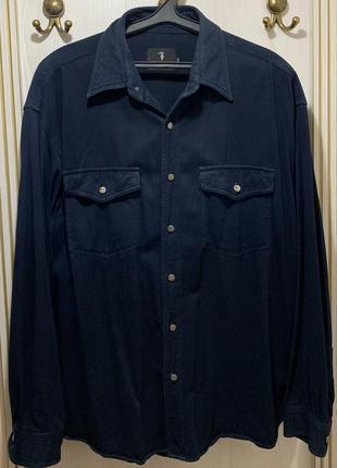 Стильная джинсовая синяя мужская рубашка джинс trussardi размер ххл