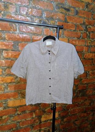 Хлопковая блуза рубашка оверсайз в мелкую черно белую клетку