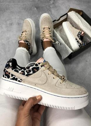 Nike air force 1 low бежевые леопардовые женские кроссовки наложенный платёж купить