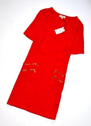 Papaya. новое красное платье украшенное металлическими молниями. м.10.