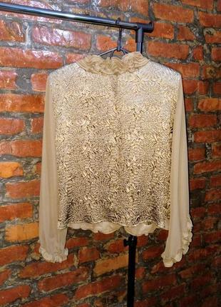 Романтичная блуза кофточка с рюшами и фактурным узором
