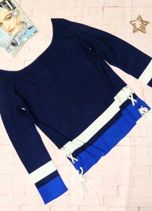 Стильный пуловер джемпер со шнуровкой george