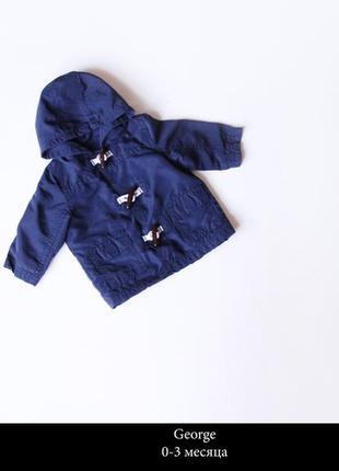 Синяя курточка размер 1-3 мес.