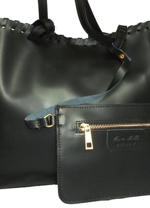 Стильная большая сумка  натуральная кожа vera pelle италия