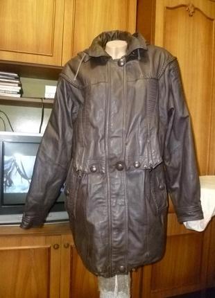 Натуральная кожаная куртка(тренч)с капюшоном,неубиваемая длинная осень-зима женская