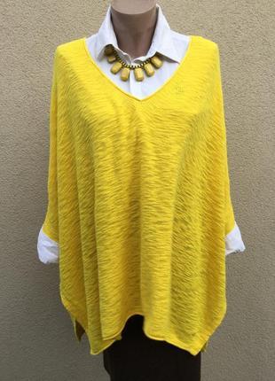 Желтый джемпер-пончо,кофта реглан,свитер,туника трикотаж,хлопок,большой размер