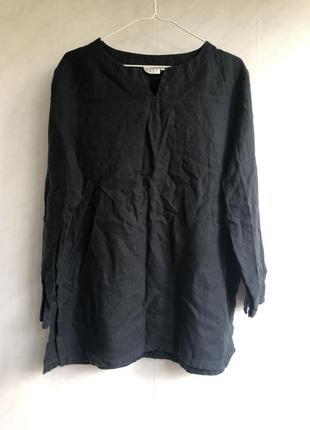 Льняная блуза туника кофта. черная летняя натуральная. индийская m