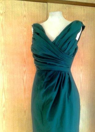 Катоновое платье цвета морской волны, xs - s.1 фото