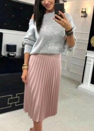 Нежная пудровая юбка - плиссе