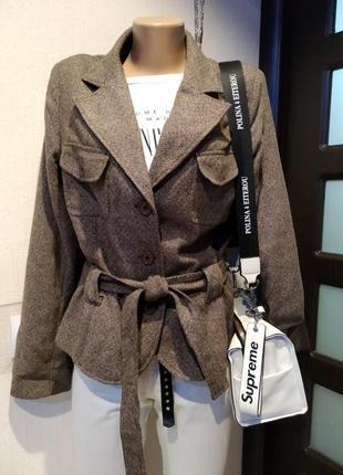 Крутой стильный брэндовый пиджак жакет коричневый под пояс из натуральной шерсти