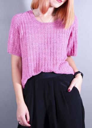 Джемпер с коротким рукавом, теплая блуза, розовая футболка, теплая футболка