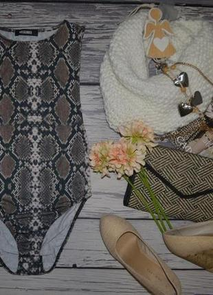 6/34/s фирменный стильный женский боди комбидрес змеиный принт missguided мисгайдед
