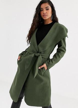 Новое пальто халат с поясом хаки миди