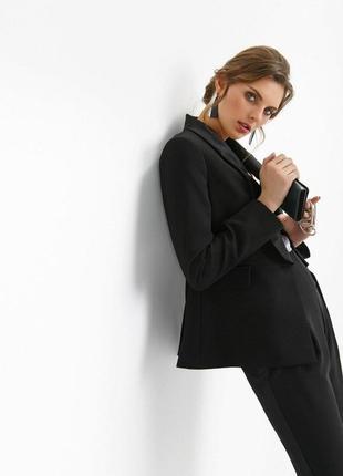 Брендовый черный пиджак жакет со вставками из ткани с атласным блеском mango вьетнам