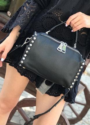 Женская кожаная сумка polina & eiterou чёрная бежевая серая жіноча шкіряна чорна