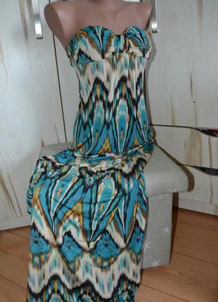 Длинное платье сарафан бандо в морском стиле в пол  s/m/xs stella