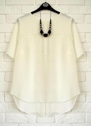 Модная блуза из фактурной ткани с удлиненной спинкой f&f uk18 состояние новой