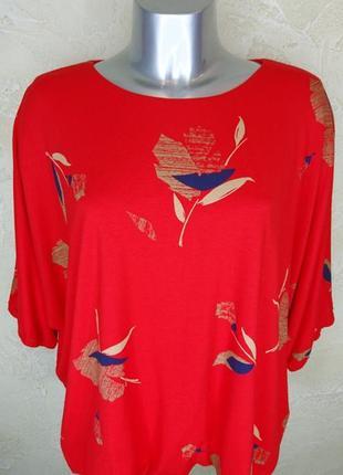 Яркая красная вискозная футболка phase eight 3xl 18 батал