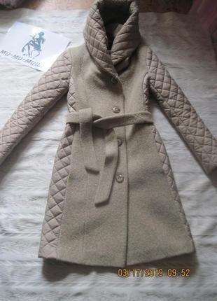 Акция на час!демисезонное пальто с стеганными елементами и капюшоном турция 300 грн турция